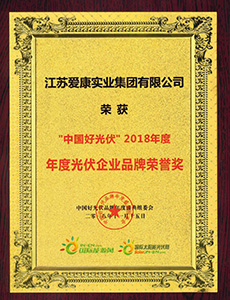 """China Excellent Photovoltaic Enterprise"" Photovoltaic Brand Honorary Award in 2018"
